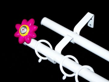 19/19mm Double Layer White Childrens FLOWER Curtain Pole 1.2m 1.5m 2.4m 3m